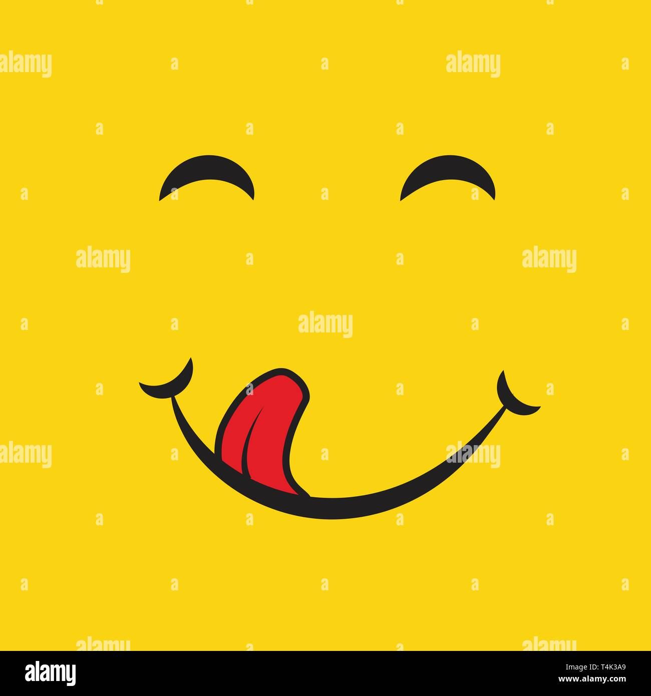 Yummy Smile Cartoon Line Emotion With Tongue Lick Mouth Delicious