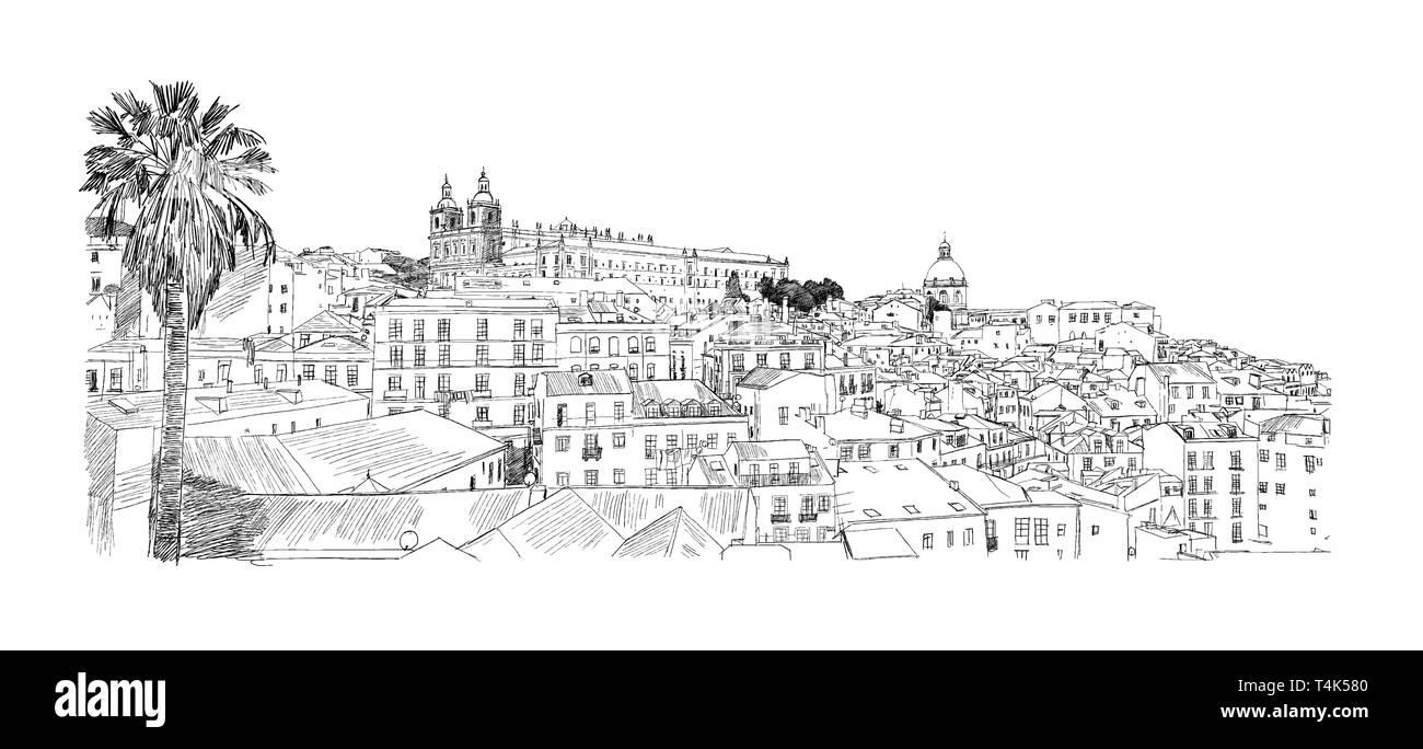 Lisbon, Portugal. Alfama. Vector drawing - Stock Image