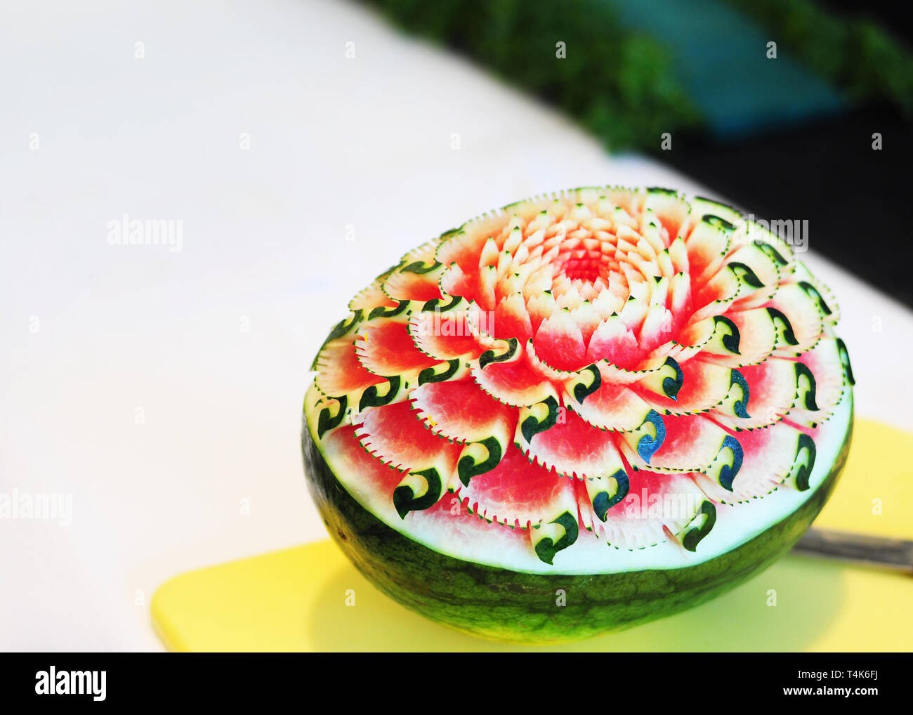 Fruit and vegetable carvings display thai fruit carving stock