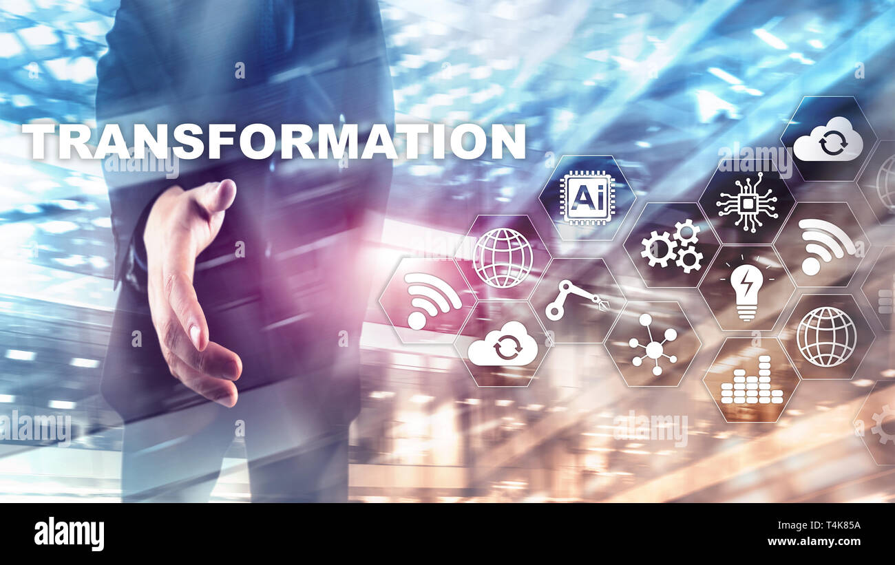 Business Transformation. Future and Innovation Internet and network concept. Abstract business background. Mixed Media - Stock Image