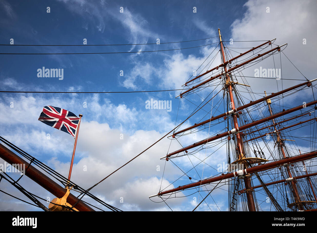 Dundee / Scotland - April 14th 2019: The exterior of the RRS Discovery, the last wooden three mast steamship built in the UK - Stock Image