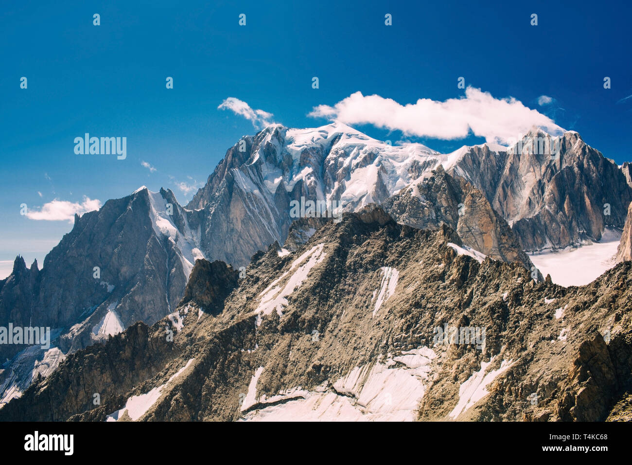 view to Mont Blanc mountain peak, from Punta Helbronner at Courmayeur, Italy Stock Photo