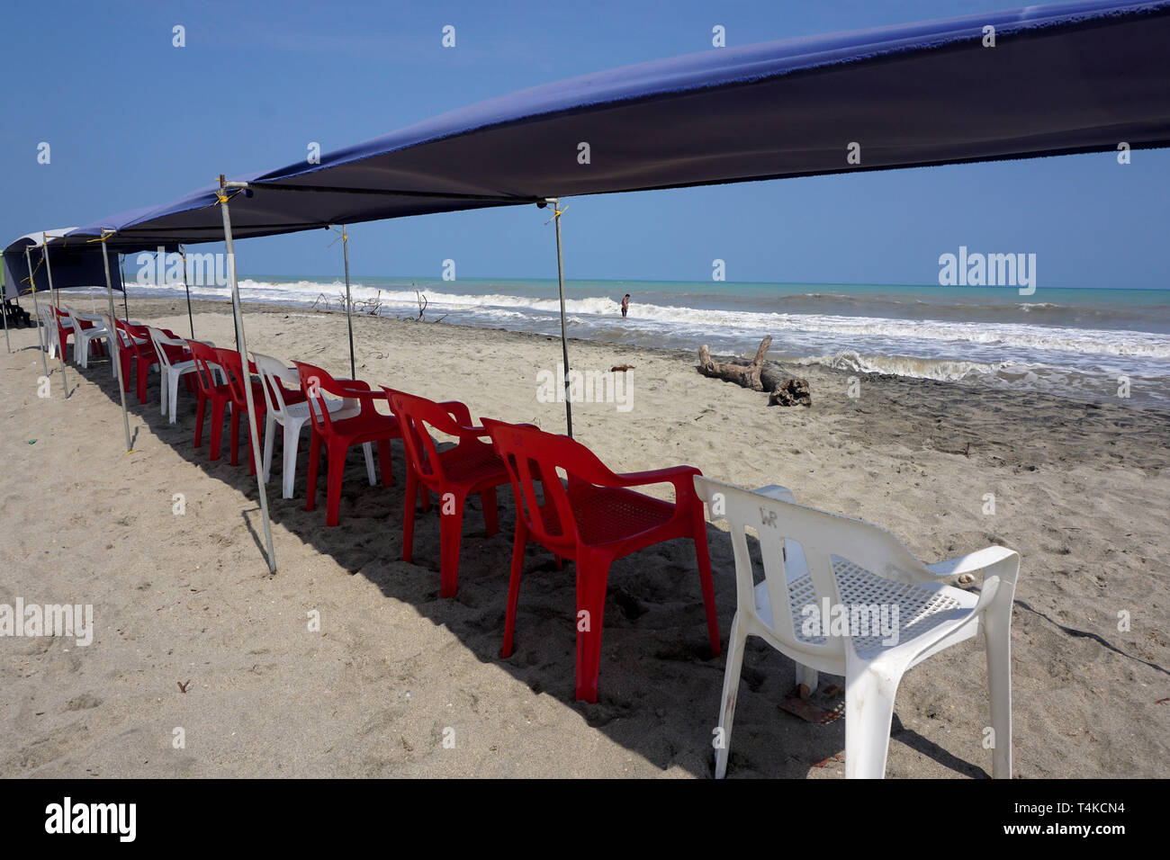 Canopy shading a Row of Empty Chairs on a sunlit Beach - Stock Image