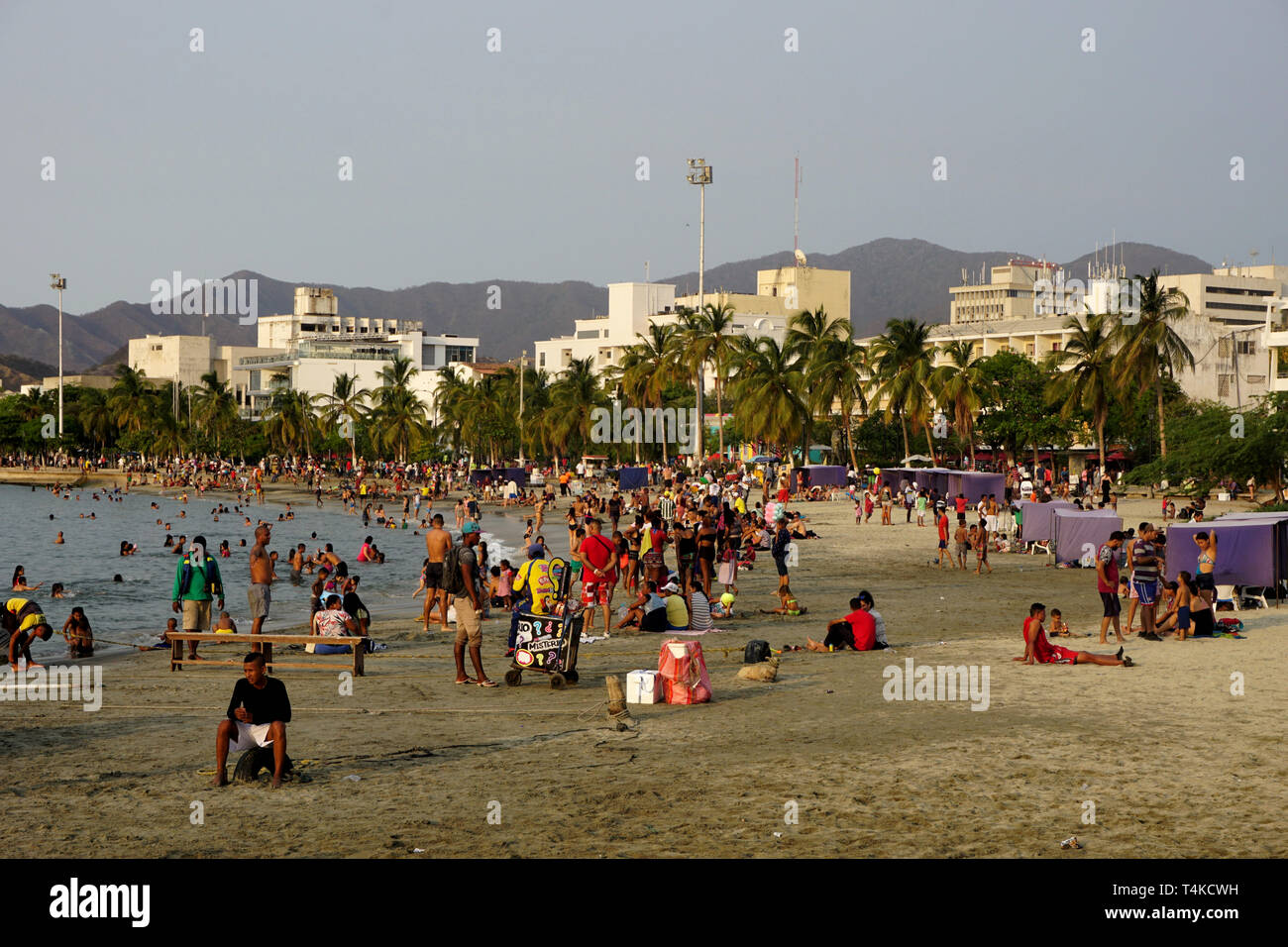 Colorful, Crowded Santa Marta Beach, Colombia, towards Sunset Stock Photo