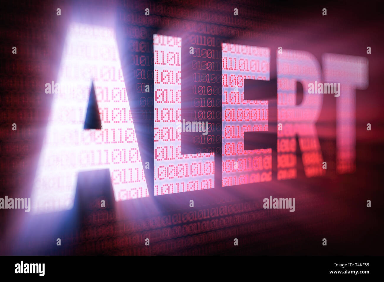 ALERT bright glowing word on computer screen filled with binary code - Stock Image