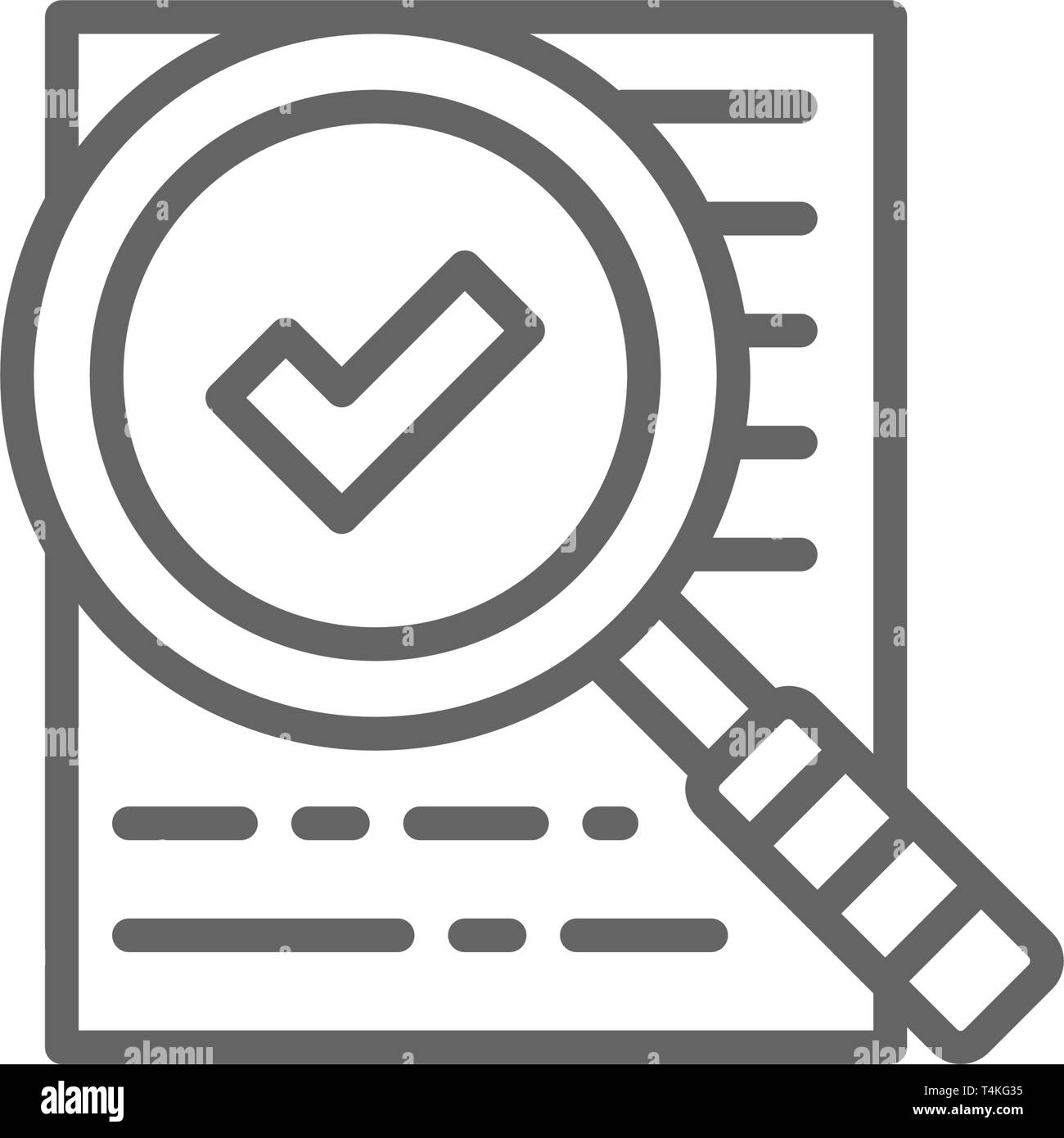 Magnify glass with contract, approved loan, checklist line icon. - Stock Image