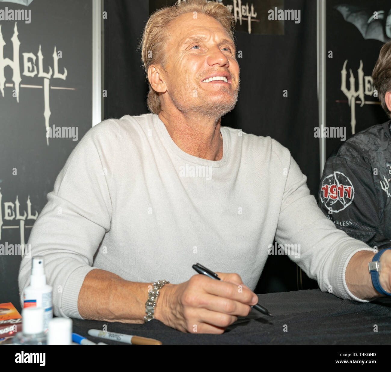 DORTMUND, GERMANY - April 13th 2018: Dolph Lundgren (*1957, Swedish actor) signing autographs for fans at Weekend of Hell Spring Edition 2019 - Stock Image