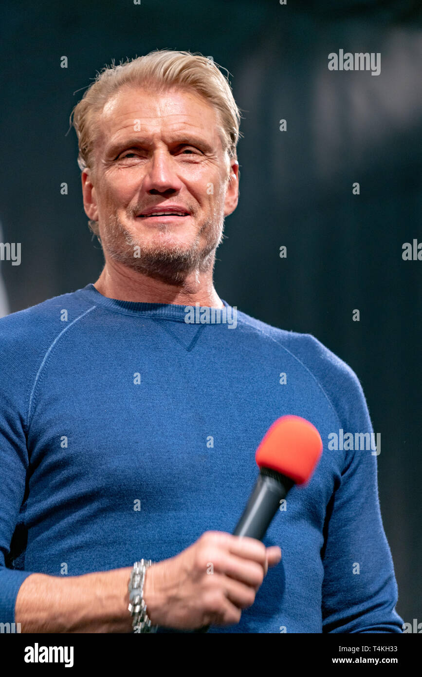 DORTMUND, GERMANY - April 14th 2018: Dolph Lundgren (*1957, Swedish actor) at Weekend of Hell Spring Edition 2019, a two day (April 13-14 2019) horror-themed fan convention. - Stock Image