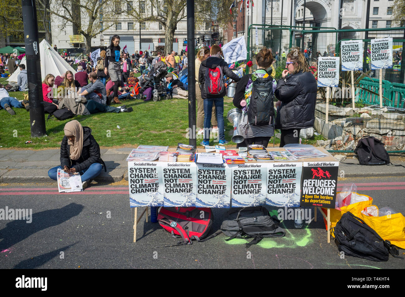 A Socialist Worker stall at the Extinction Rebellion demonstration at Marble Arch Stock Photo
