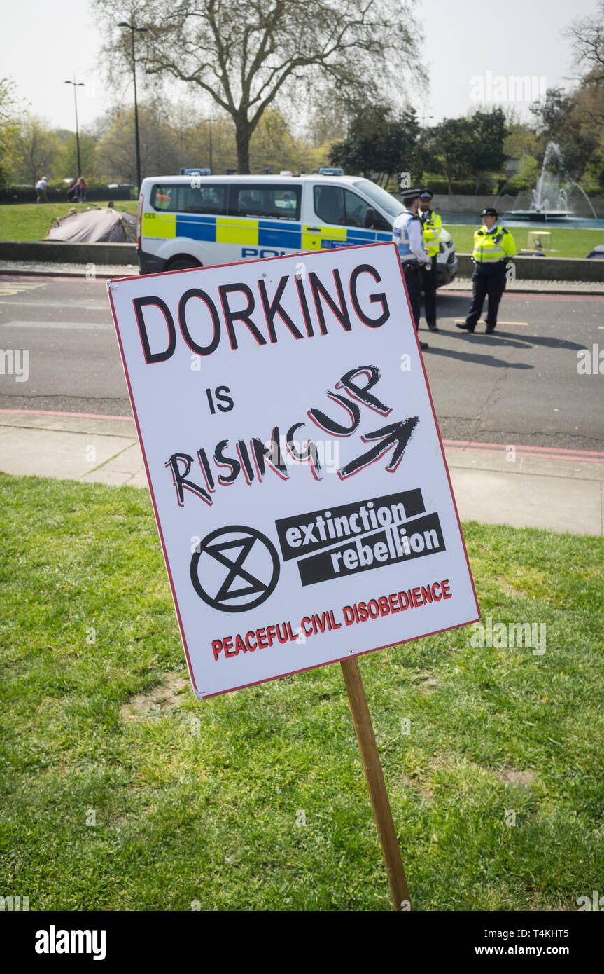A banner from the Dorking branch of Extinction Rebellion at the demonstration in Marble Arch - Stock Image