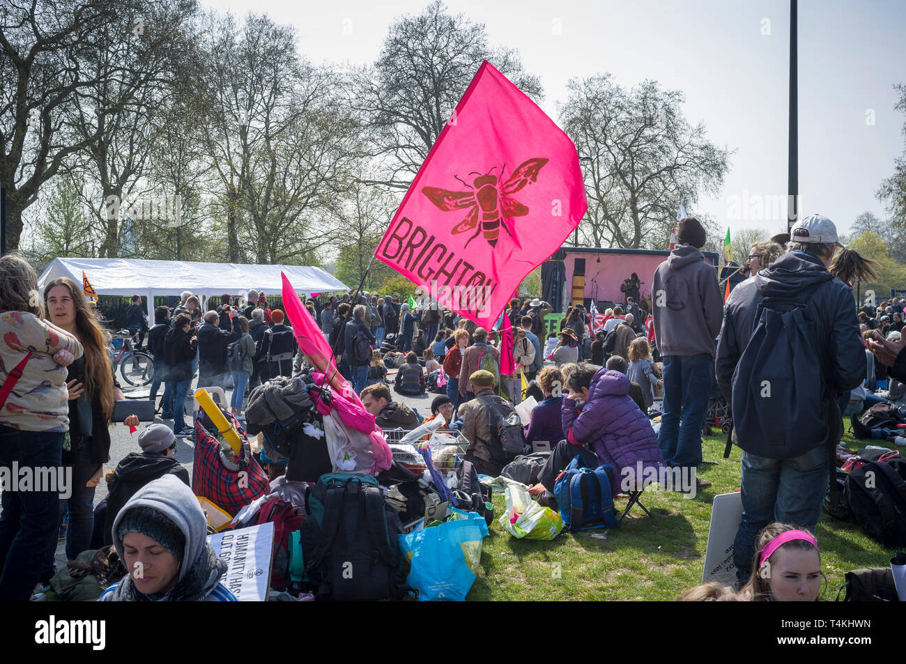 A flag from Brighton at the Extinction Rebellion demonstration in Marble Arch Stock Photo