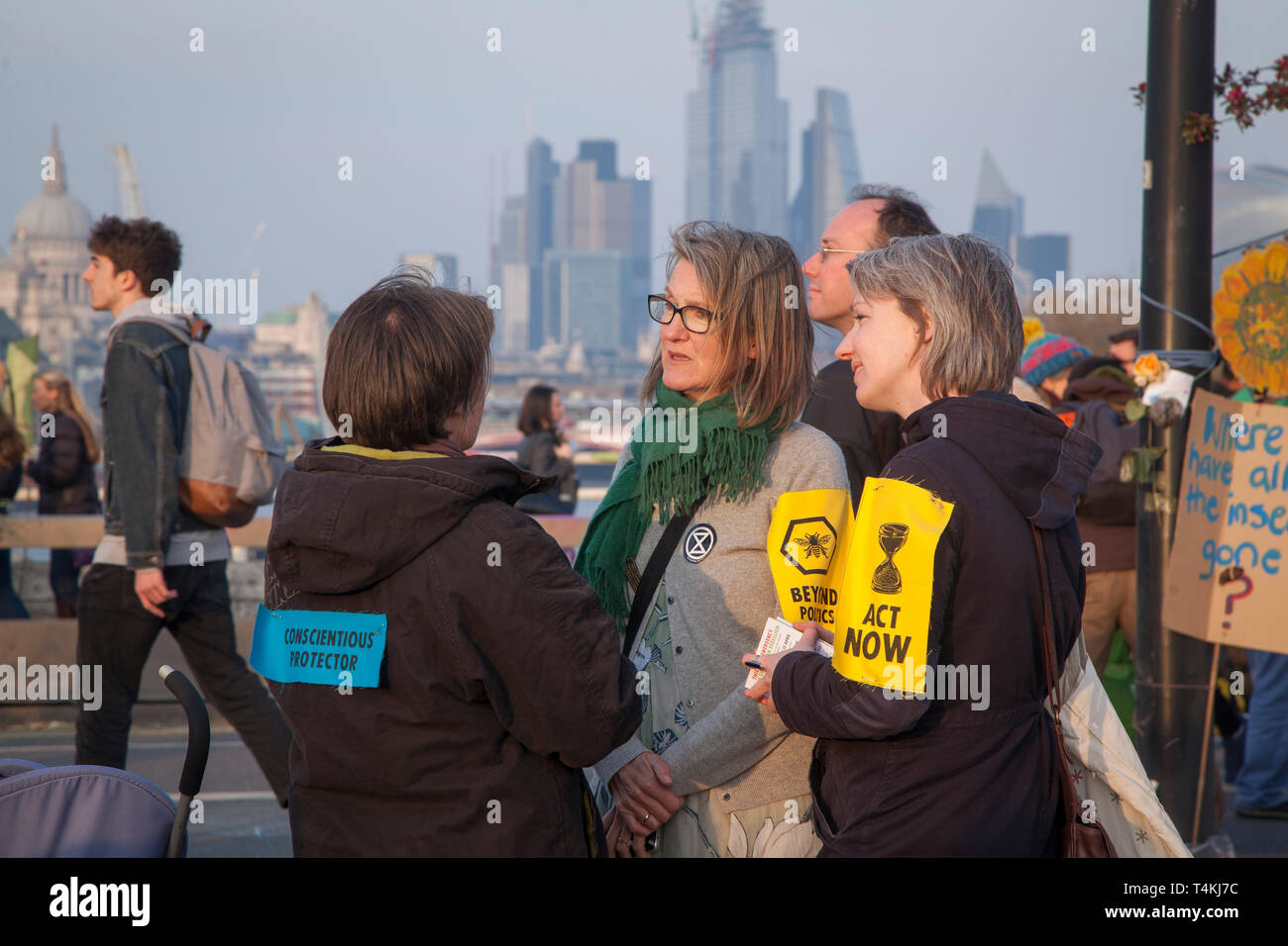 A 'Conscientious Protector' on Waterloo Bridge for the Extinction Rebellion demonstration - Stock Image