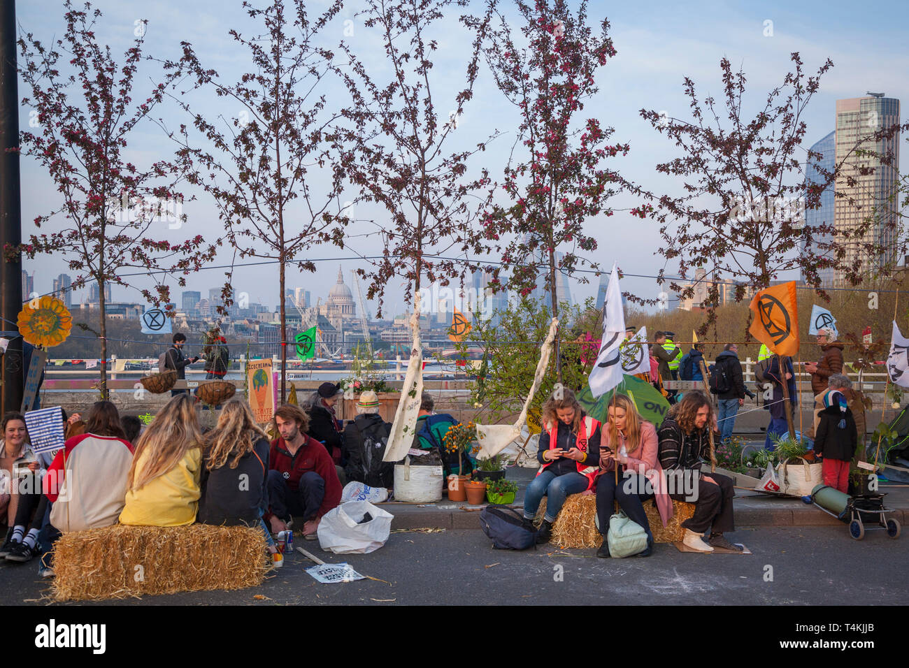 Protestors rest on Waterloo Bridge for the Extinction Rebellion demonstration with trees behind Stock Photo