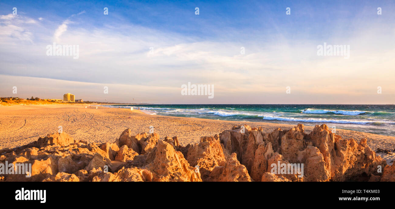 Trigg Island, looking south to and Trigg Beach and Scabrough Beach - Stock Image