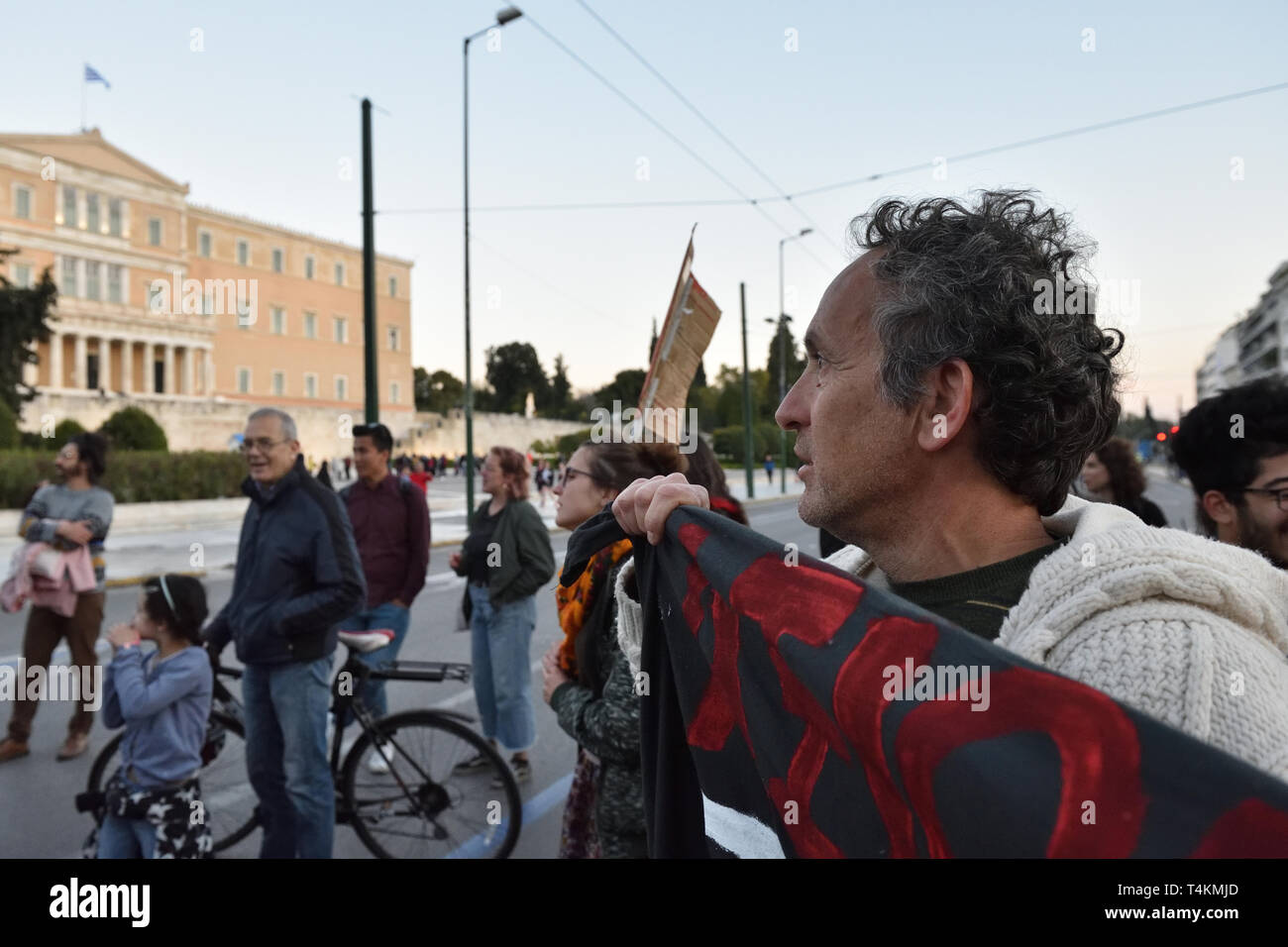 Athens, Greece. 16th Apr 2019. Refugees fearing evictions march with supporters towards the EU offices calling for funding for the EU ESTIA program which provides rental housing and cash assistance in Athens, Greece. Credit: Nicolas Koutsokostas/Alamy Stock Photo. Stock Photo