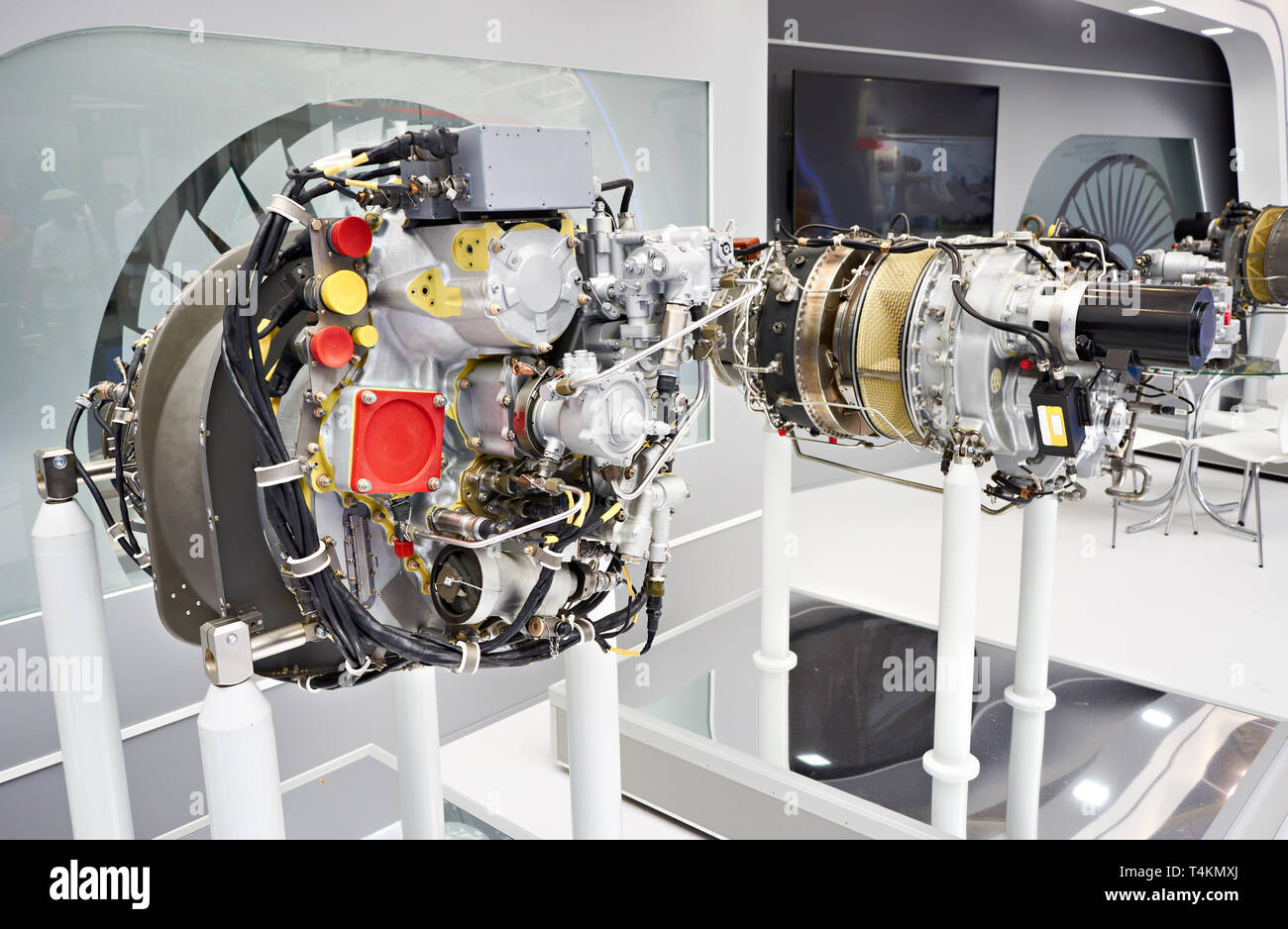 Elements turboshaft engines and turboprop aircraft on exhibition - Stock Image