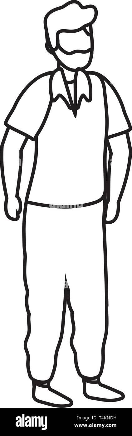 young man cartoon vector illustration graphic design Stock Vector