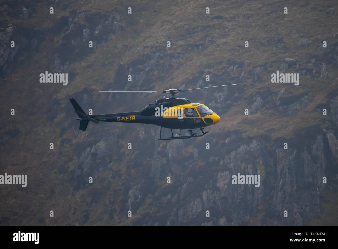 Airbus Helicopters AS355 Ecureuil flies through Mach Loop, Wales UK. Stock Photo