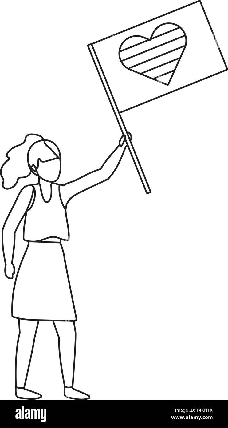homosexual proud lesbian woman holding lgtbi flag cartoon vector illustration graphic design Stock Vector