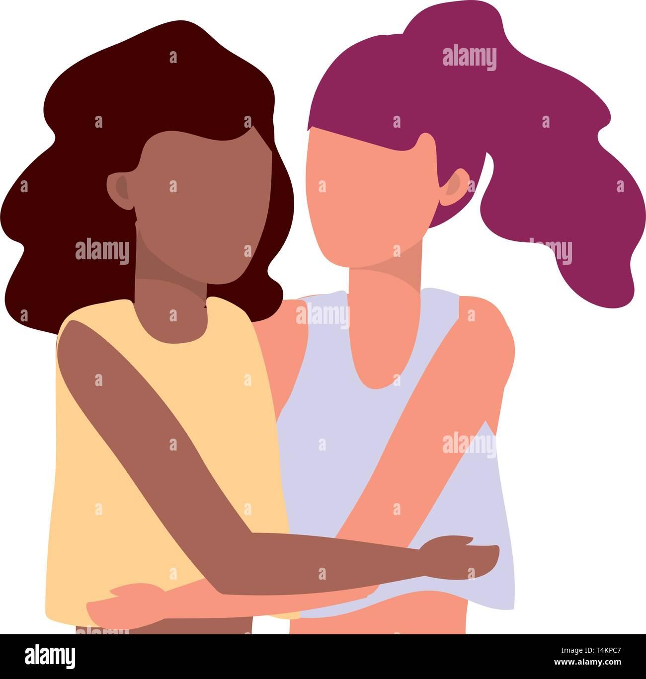young women hugging cartoon vector illustration graphic design Stock Vector
