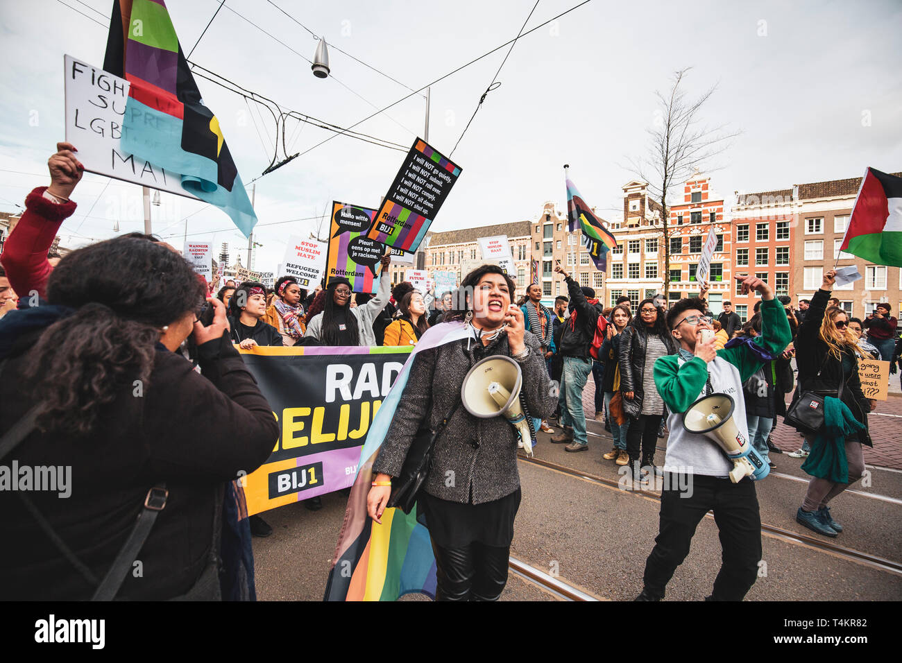 Amsterdam, Holland, 23/03/2019: People demonstrating during an anti racist procession in the city centre of Amsterdam - Stock Image