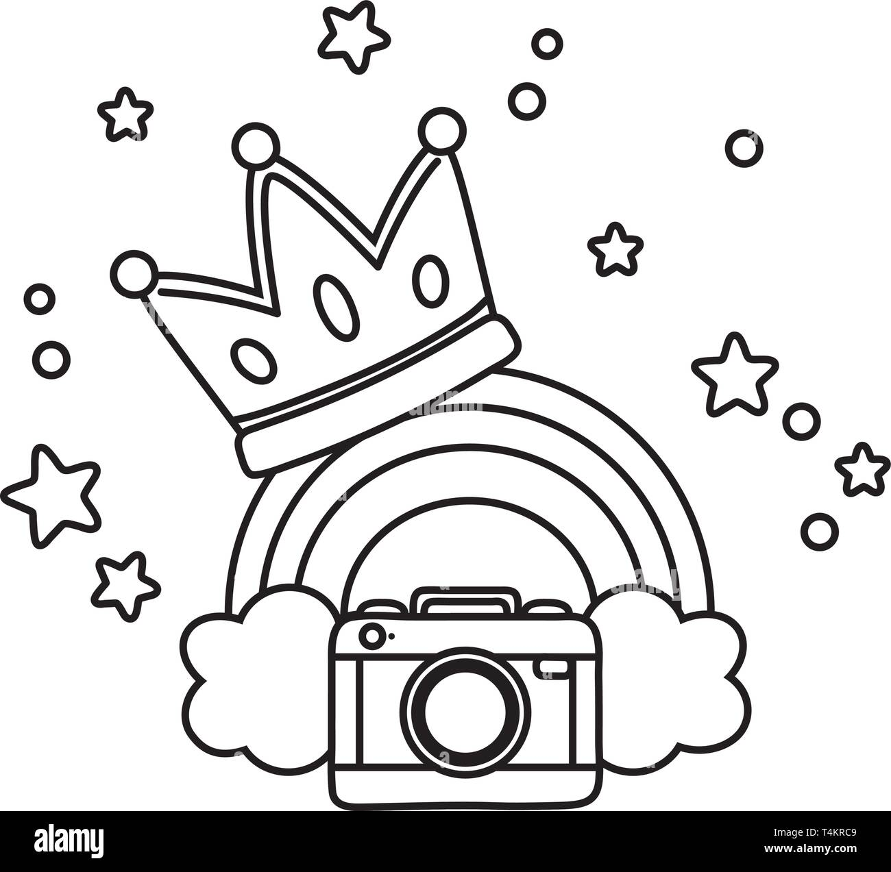 camera and crown with rainbow icon cartoon black and white vector illustration graphic design Stock Vector