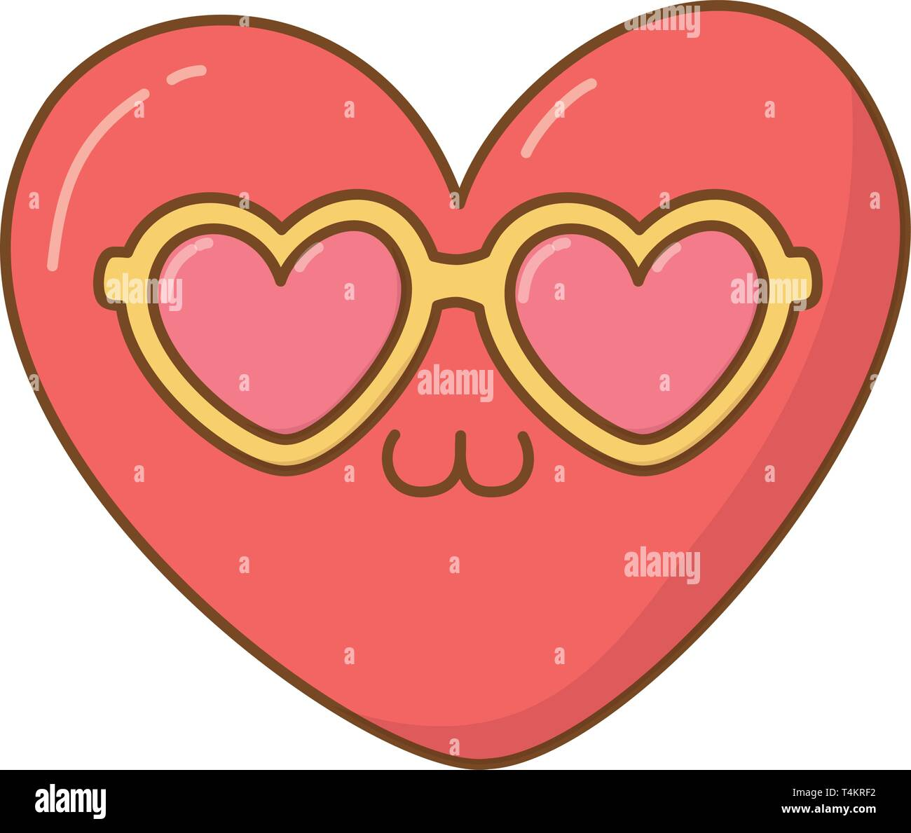 heart with sunglasses icon cartoon vector illustration graphic design Stock Vector