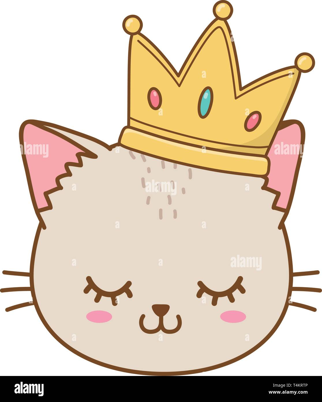 Cat With Crown Icon Cartoon Vector Illustration Graphic Design Stock Vector Image Art Alamy Funny kitties for birthday greeting card. https www alamy com cat with crown icon cartoon vector illustration graphic design image243839590 html