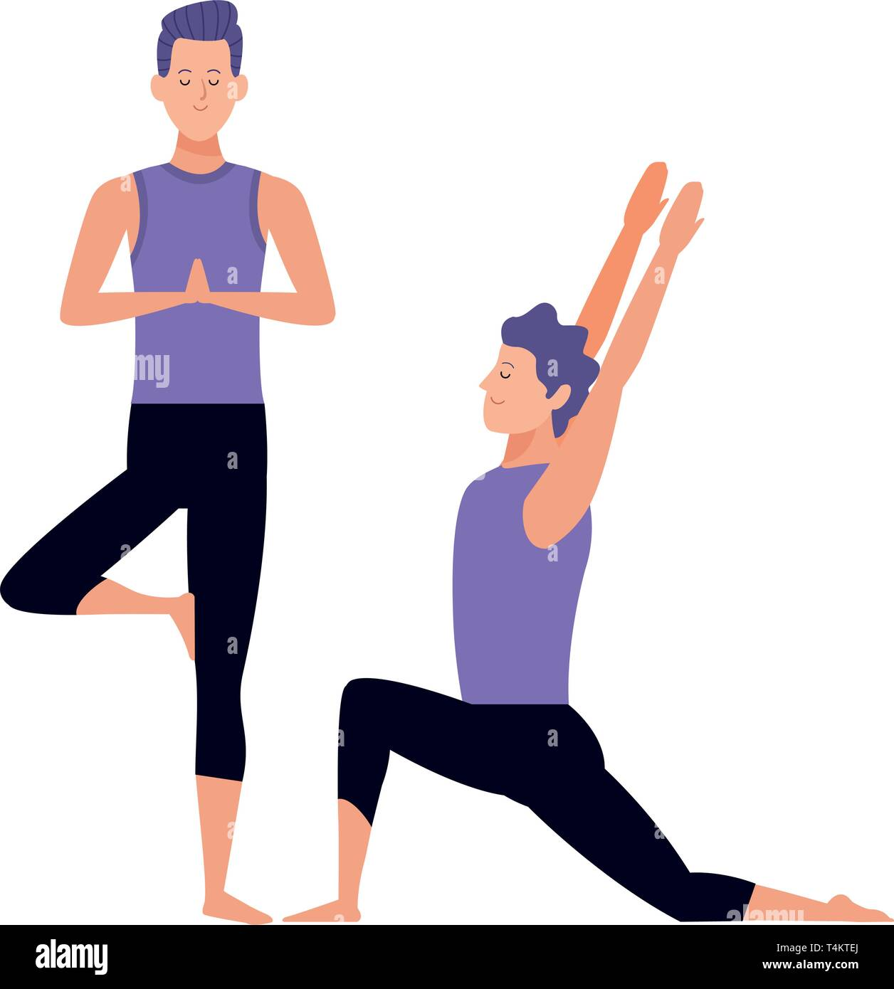 Men Yoga Poses Stock Vector Image Art Alamy