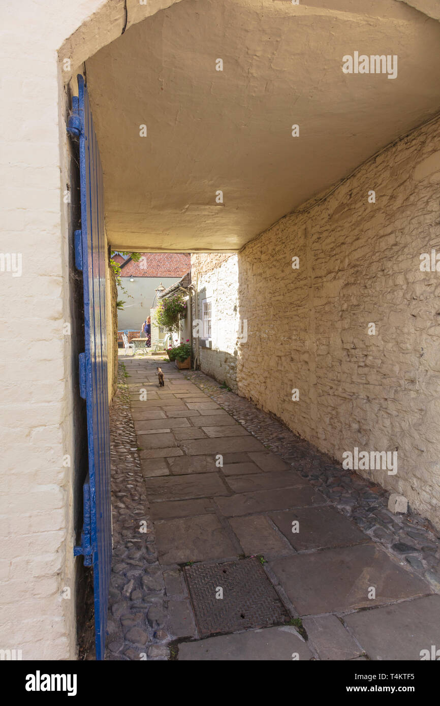 An interesting archway into a cottage on Mill Street, a cat walks up a flagstone path towards a woman, Ludlow, UK - Stock Image