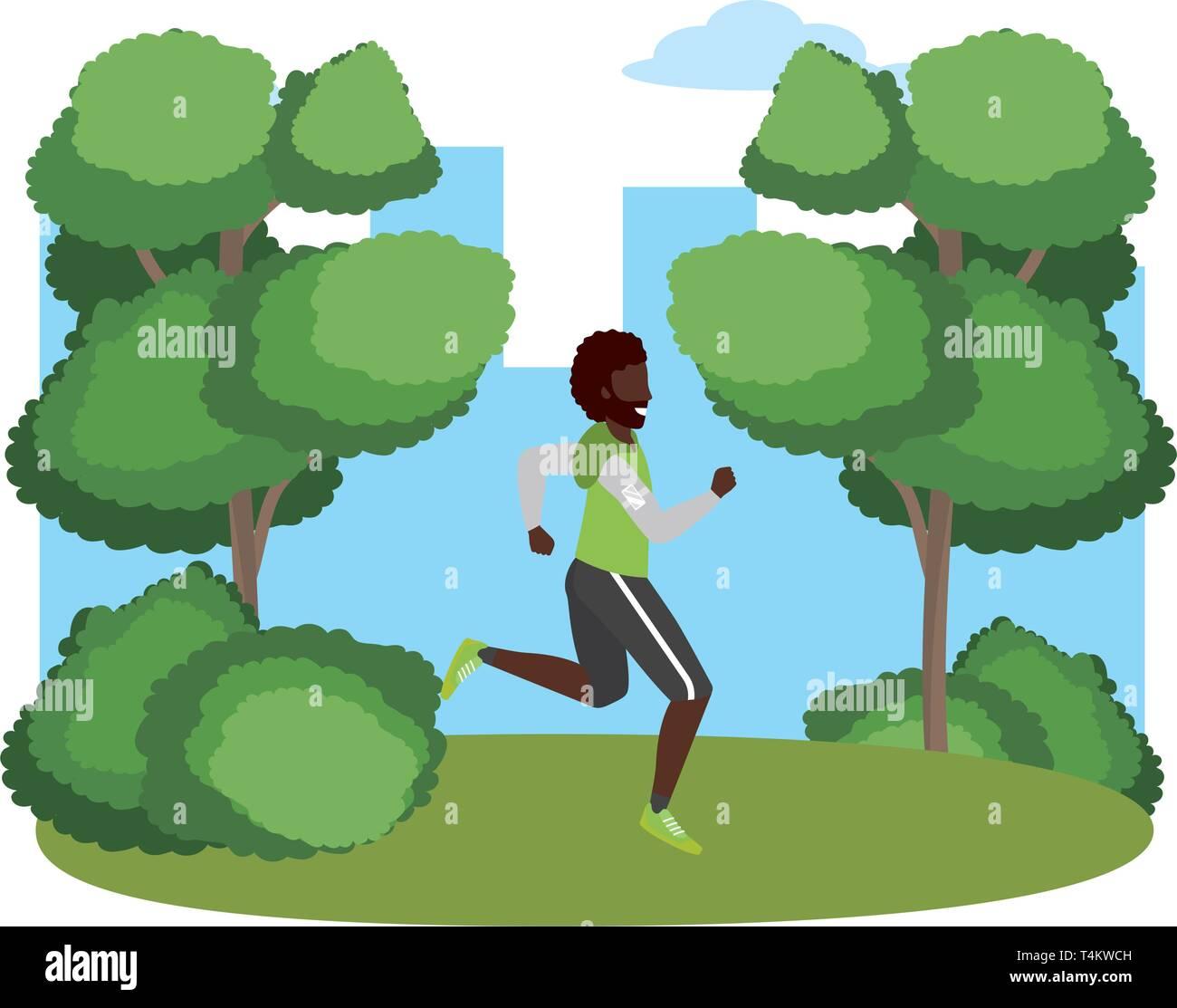 fitness sport train man running outdoor scene cartoon vector illustration graphic design Stock Vector