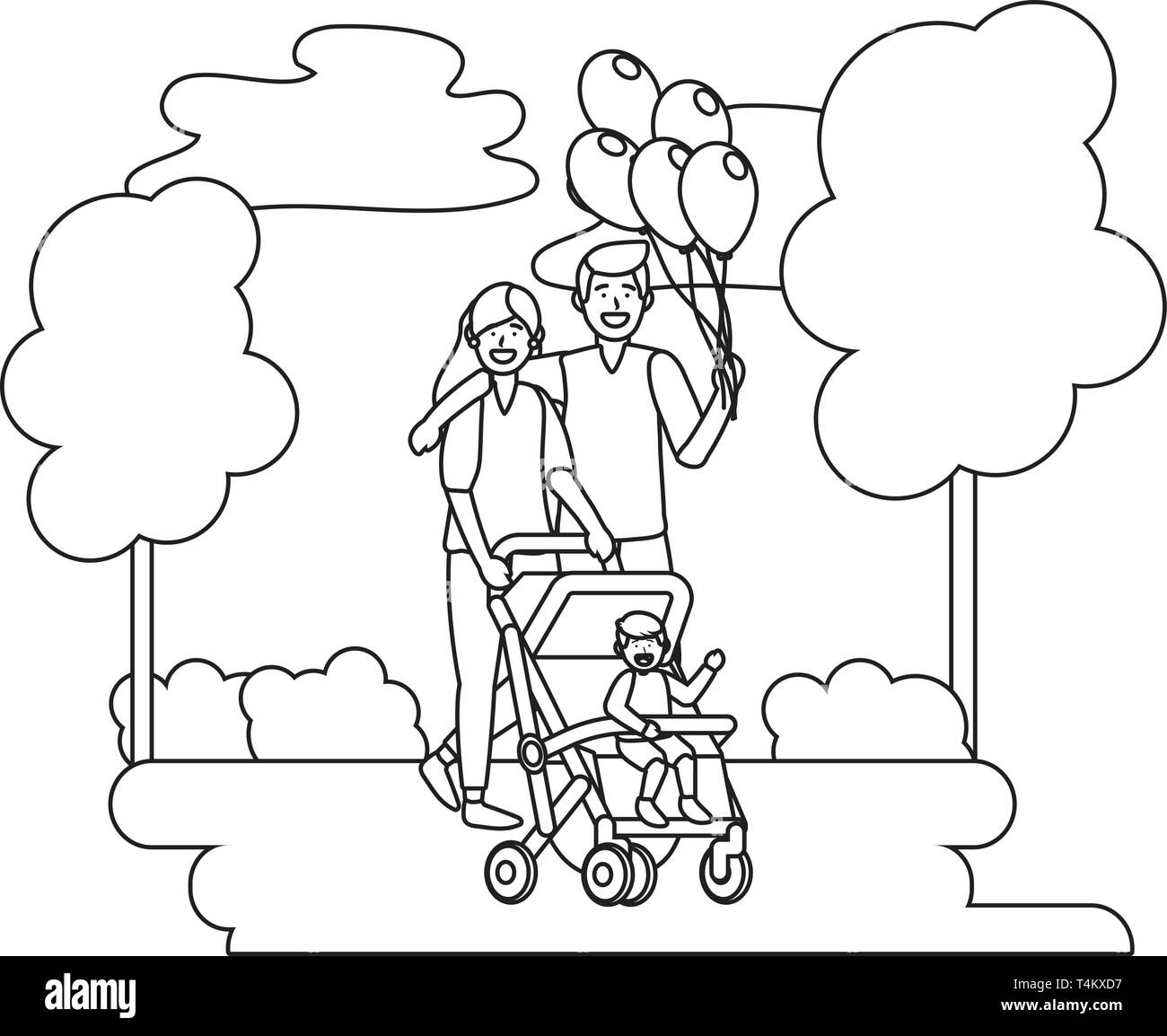 couple with baby carriage avatar cartoon character with child and balloons black and white vector illustration graphic design Stock Vector