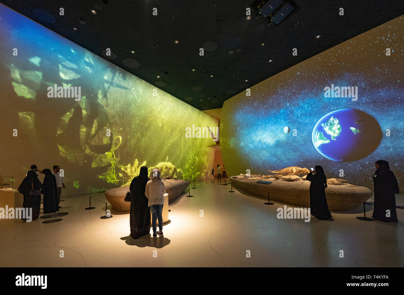 Video installation on Qatari life and culture at the new National Museum of Qatar in Doha , Qatar. Architect Jean Nouvel. Stock Photo
