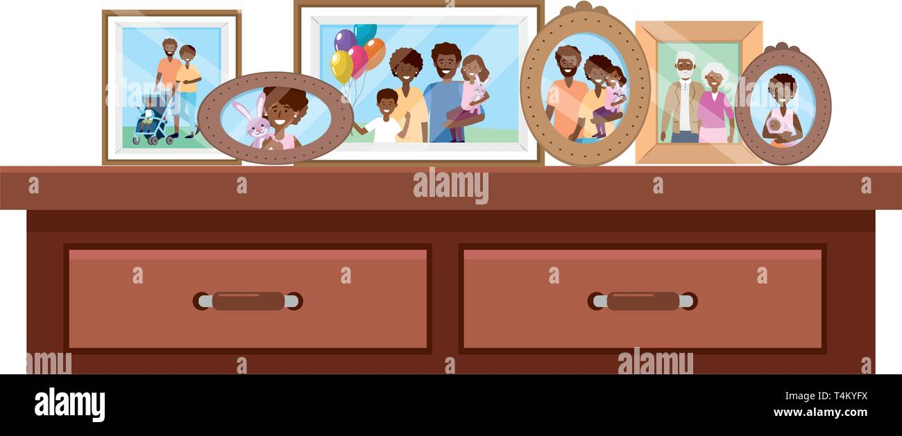 desk with photo frames icon cartoon isolated vector illustration graphic design Stock Vector