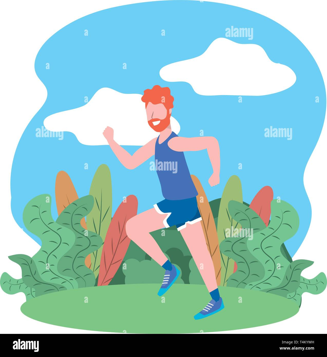 fitness sport train man running outdoor scene cartoon vector illustration graphic design Stock Vector