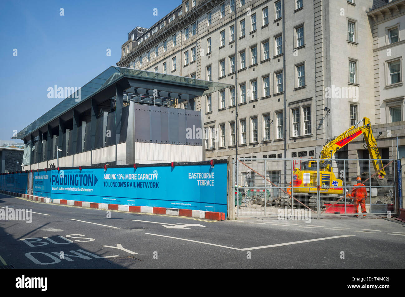 Building work on the new Crossrail expansion at Eastbourne Terrace by Paddington Station, London - Stock Image