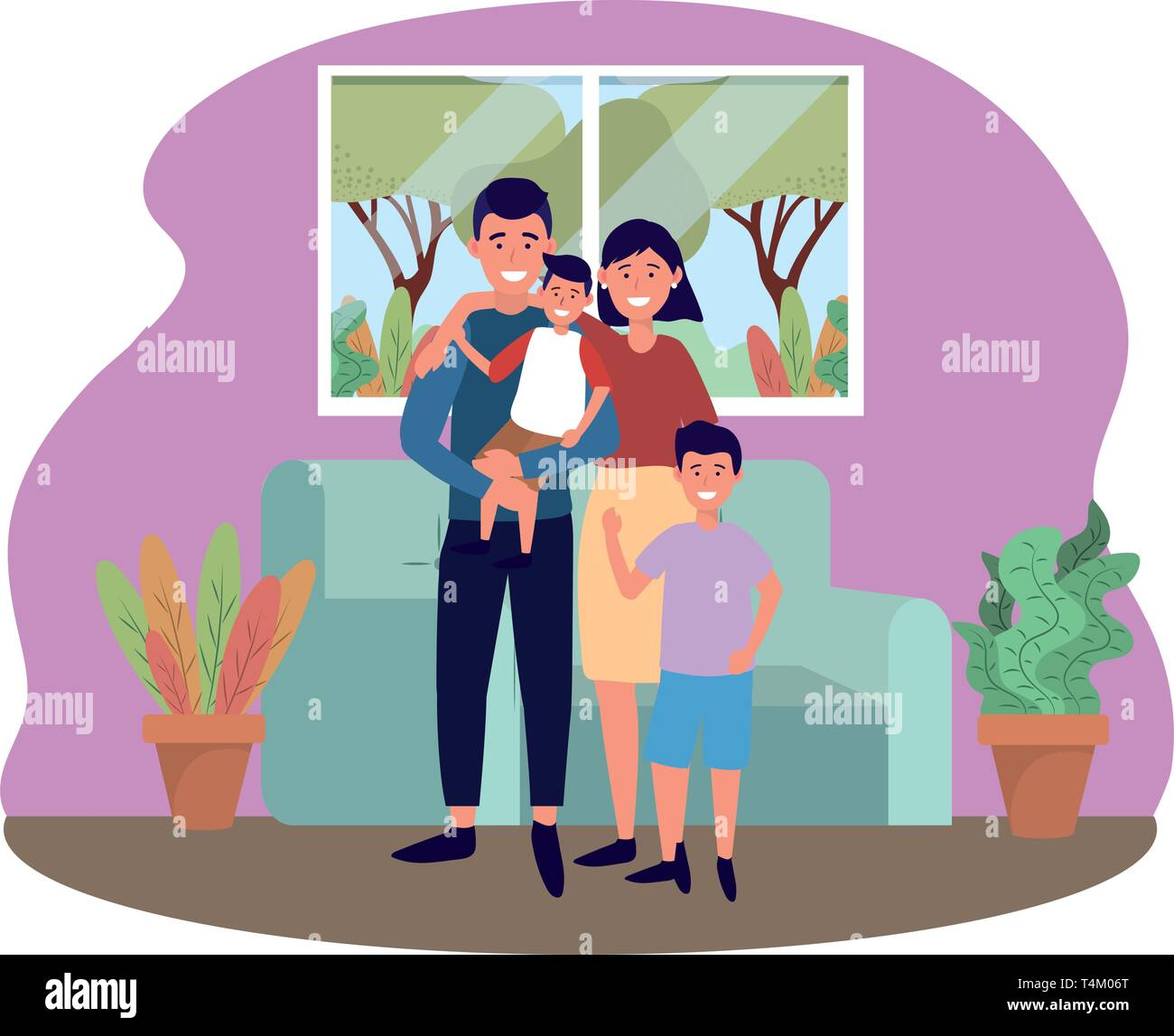couple with children avatar cartoon character in the living room vector illustration graphic design Stock Vector