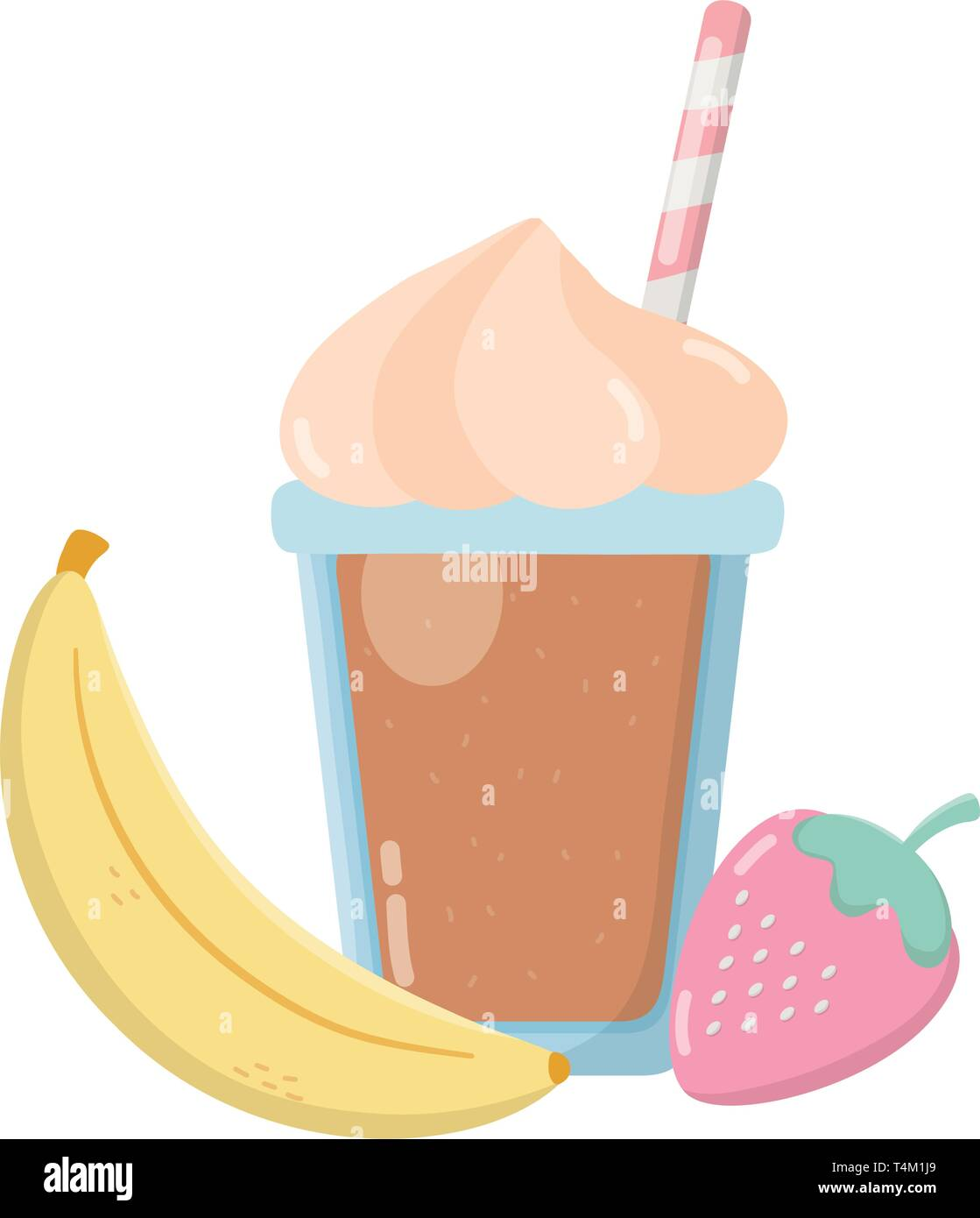 delicious tasty food fruits with milkshake cartoon vector illustration graphic design Stock Vector