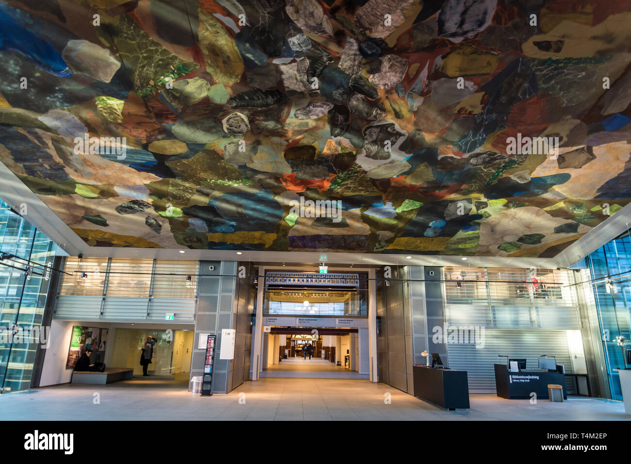 Ceiling painting in Black Diamond building, a modern waterfront extension to the Royal Danish Library's old building on Slotsholmen in central Copenha Stock Photo
