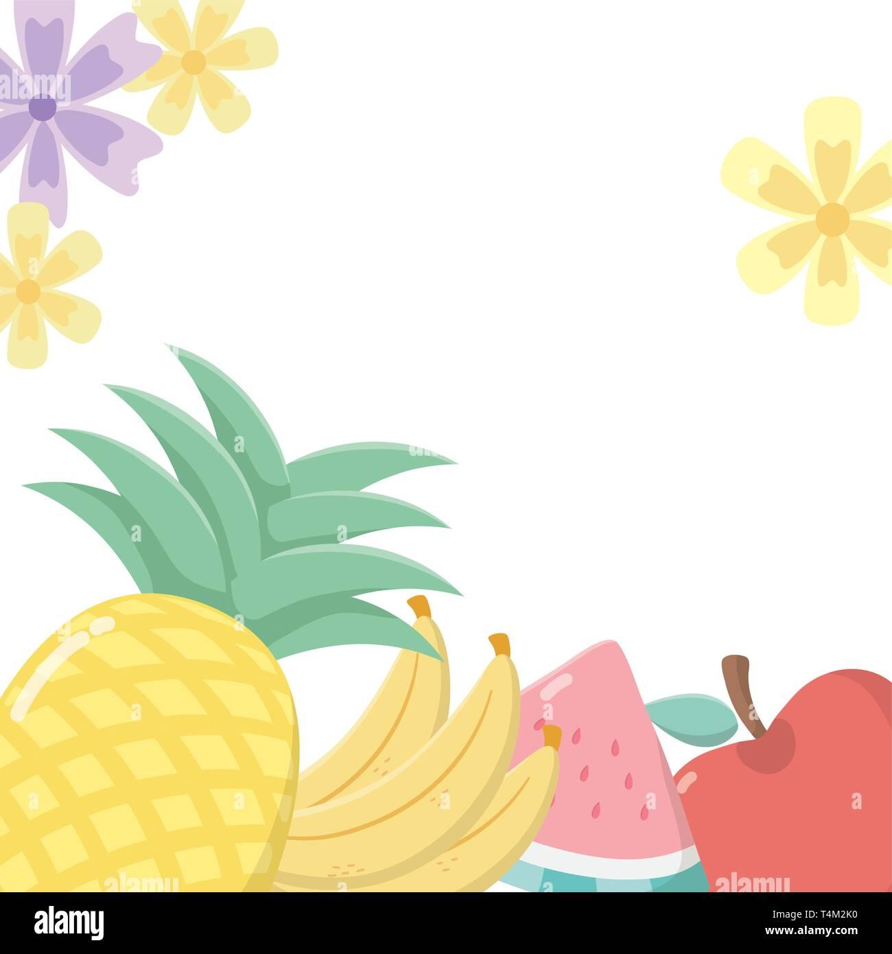 delicious tasty food fruits cartoon vector illustration graphic design Stock Vector