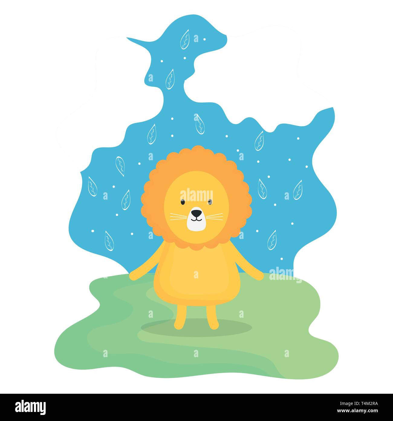cute lion adorable character vector illustration design Stock Vector