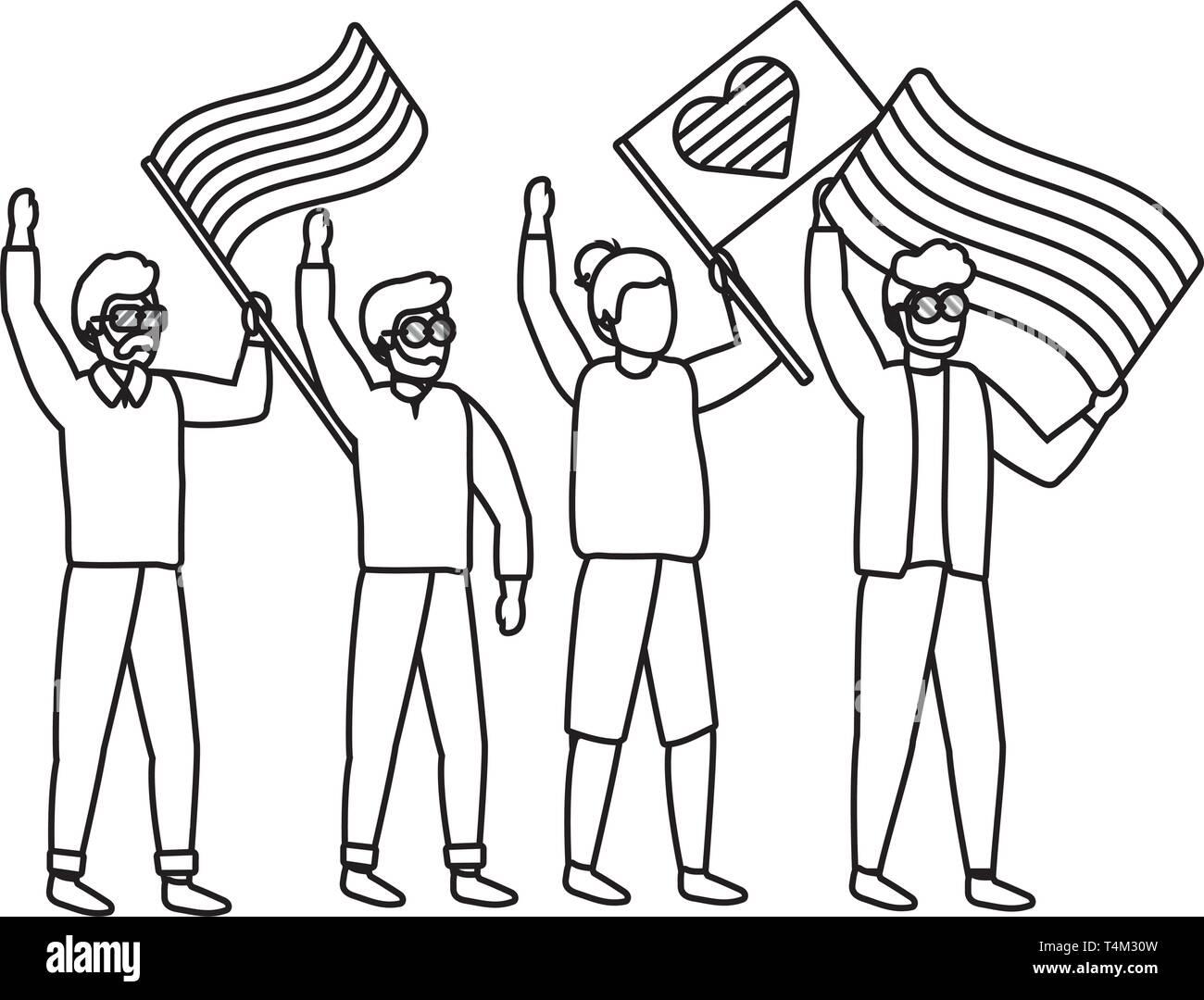 homosexual proud gay men at protest holding lgtbi flag cartoon vector illustration graphic design Stock Vector