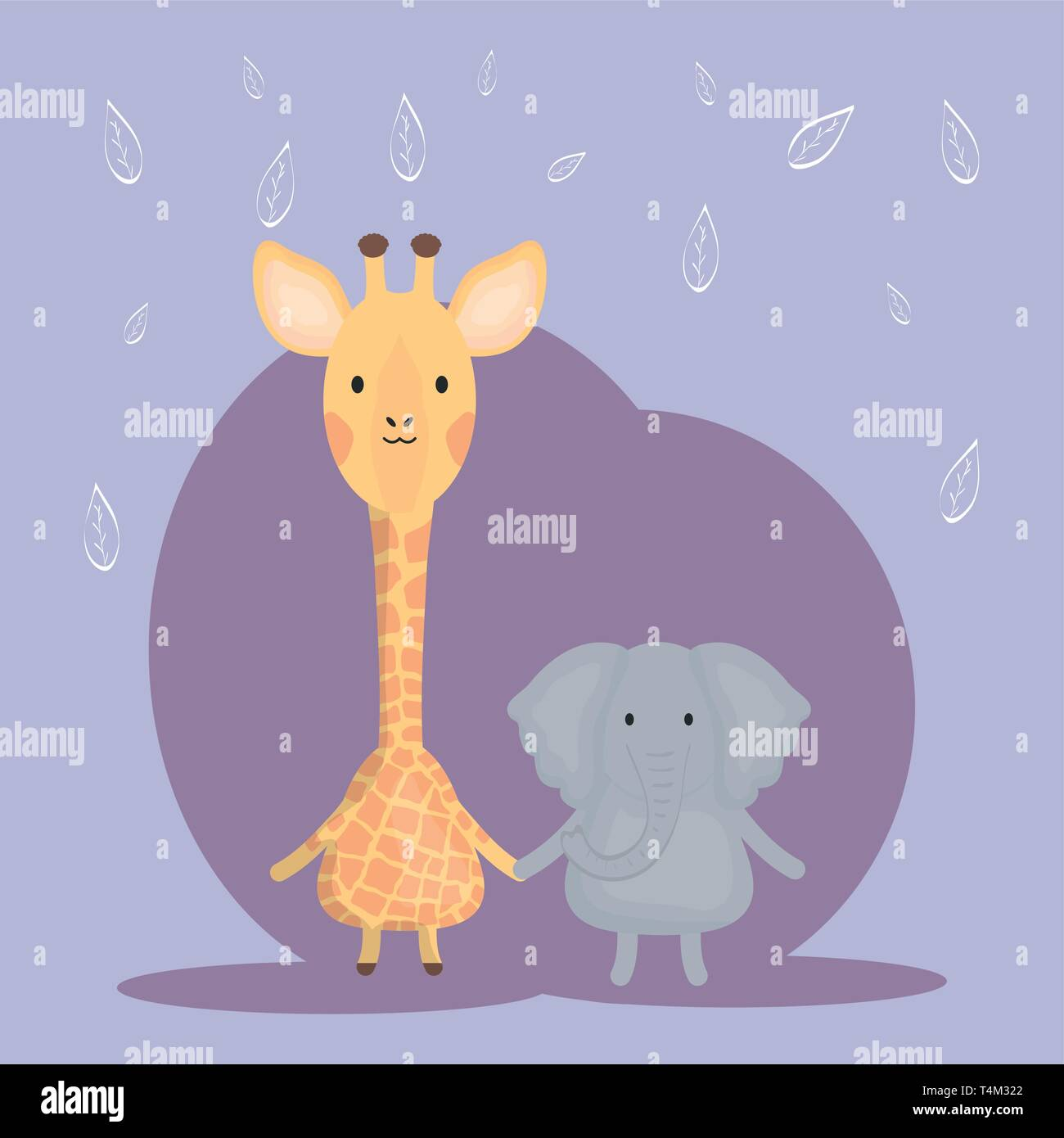 cute giraffe and elephant adorable characters vector illustration design Stock Vector
