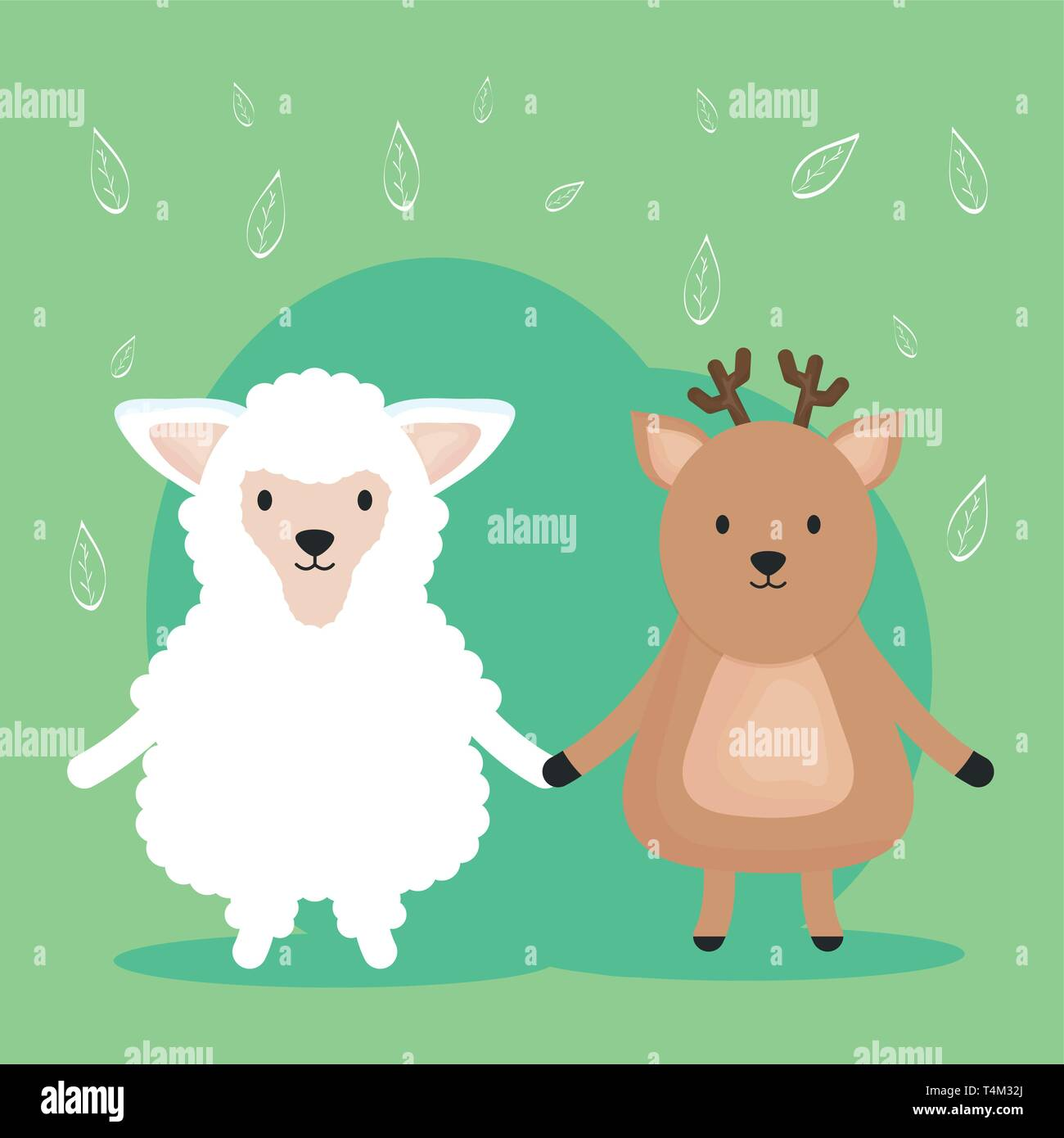 cute sheep and reindeer adorable characters vector illustration design Stock Vector