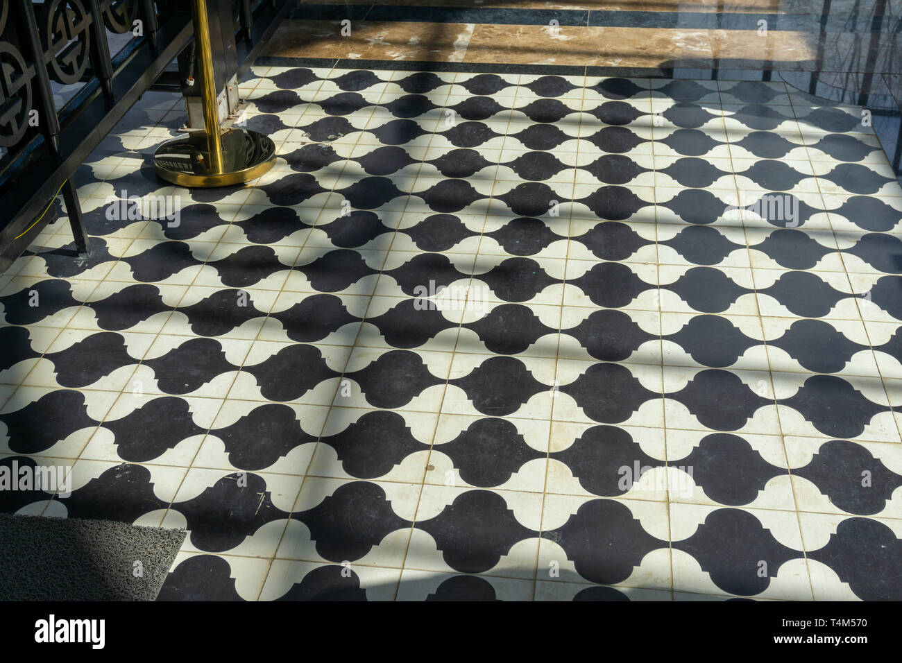 Black And White Checkered Floor Grunge Tiles Marble Surface