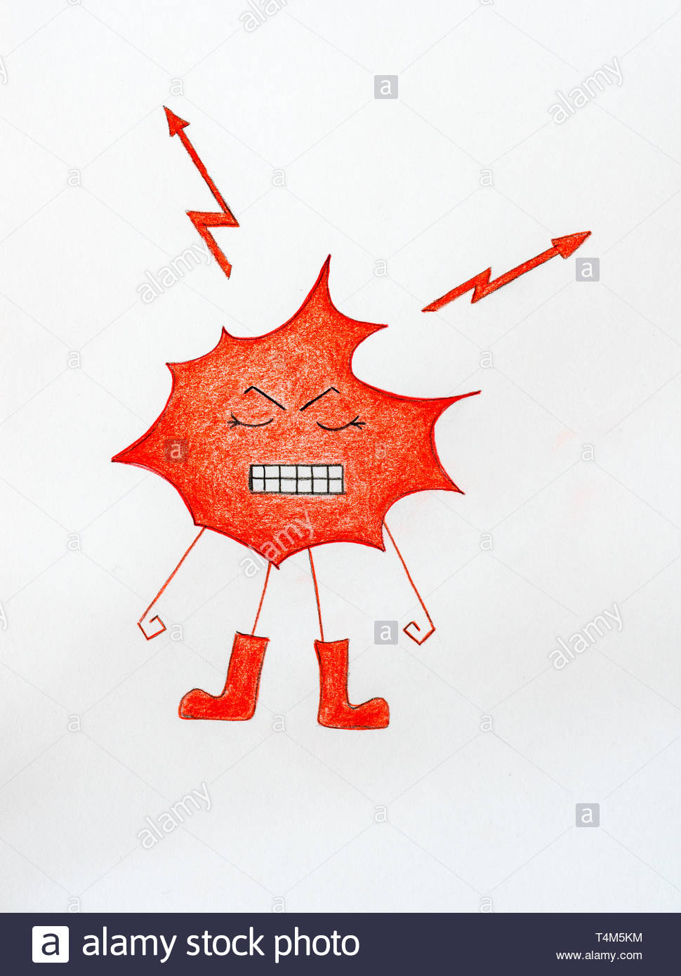 illustration of an angry red splash blob with lightning bolts and gritting teeth making fists - Stock Image