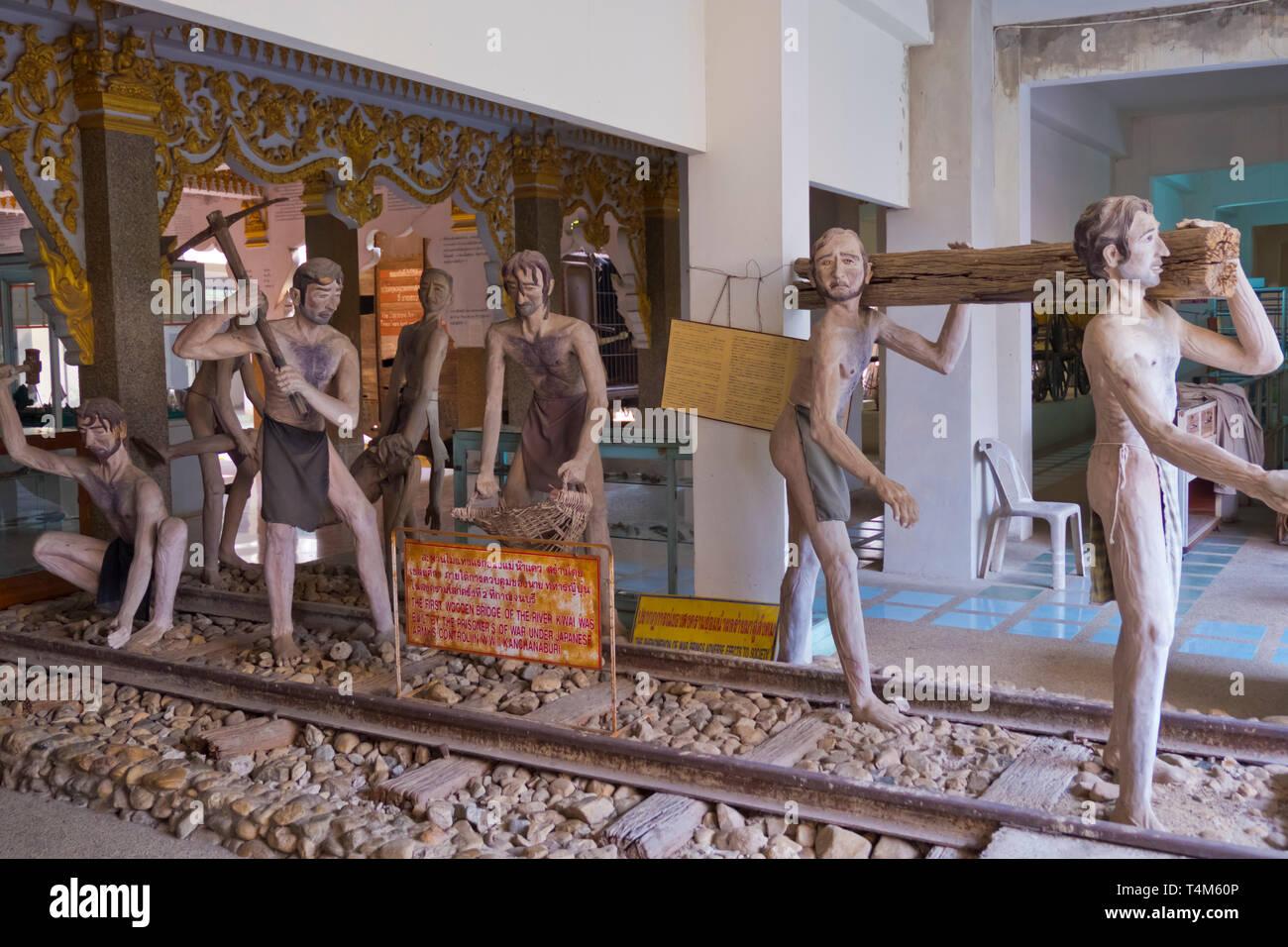Exhibition of Allied war prisoners working on Death Railway, Jeath War Museum and World War II museum, Kanchanaburi, Thailand - Stock Image