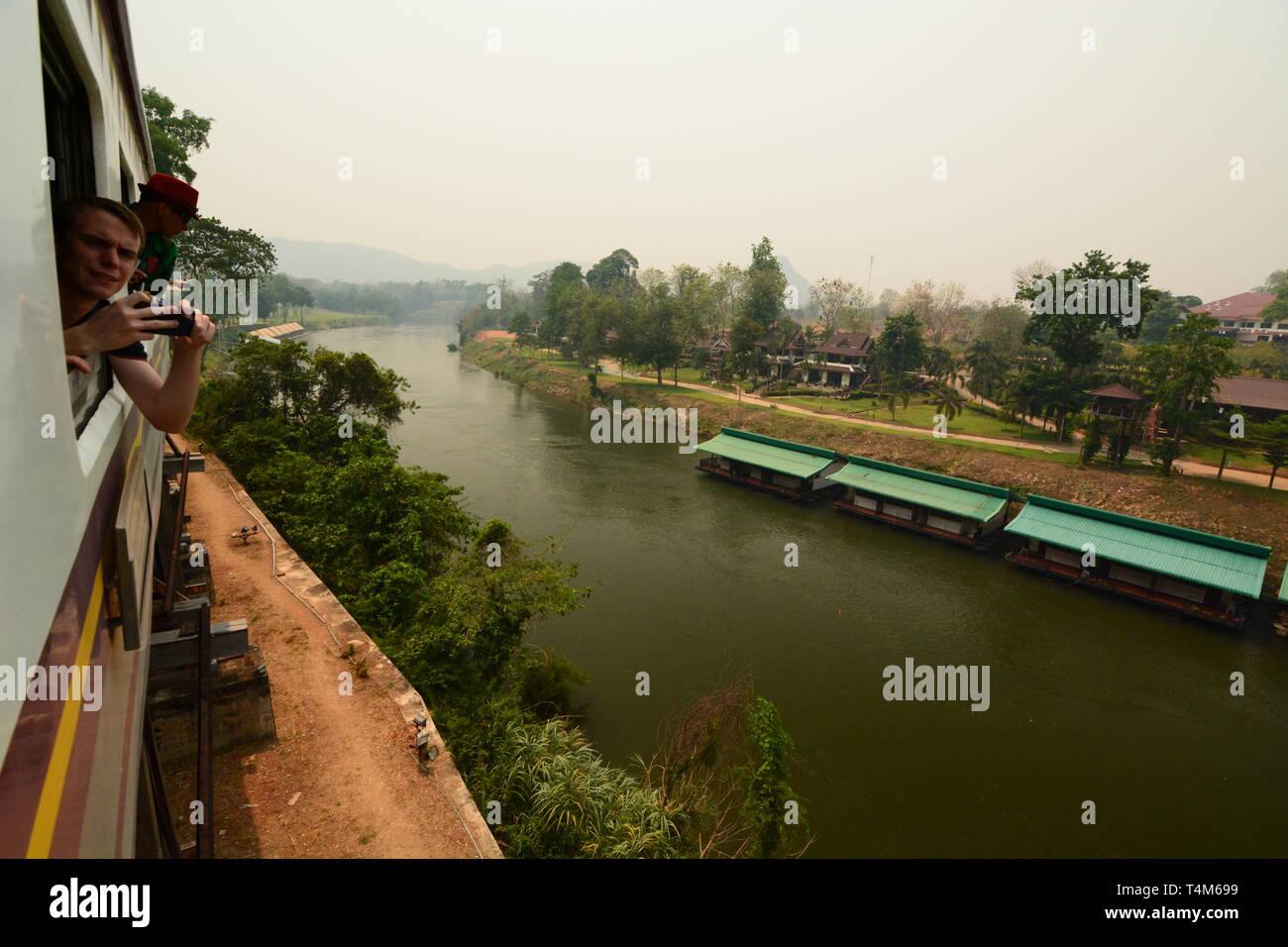 Travelling on the historic thai-burma railway. Kanchanaburi province. Thailand - Stock Image