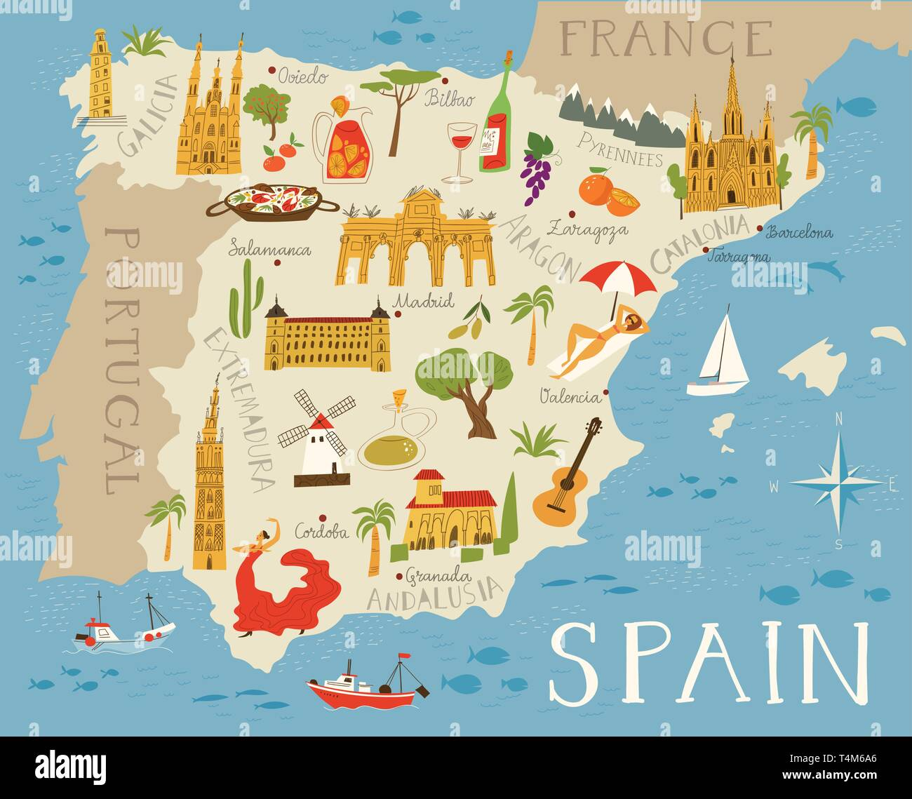 Map Of Spain Detailed.Vector High Detailed Vector Map Of Spain With Cities And Symbols Of