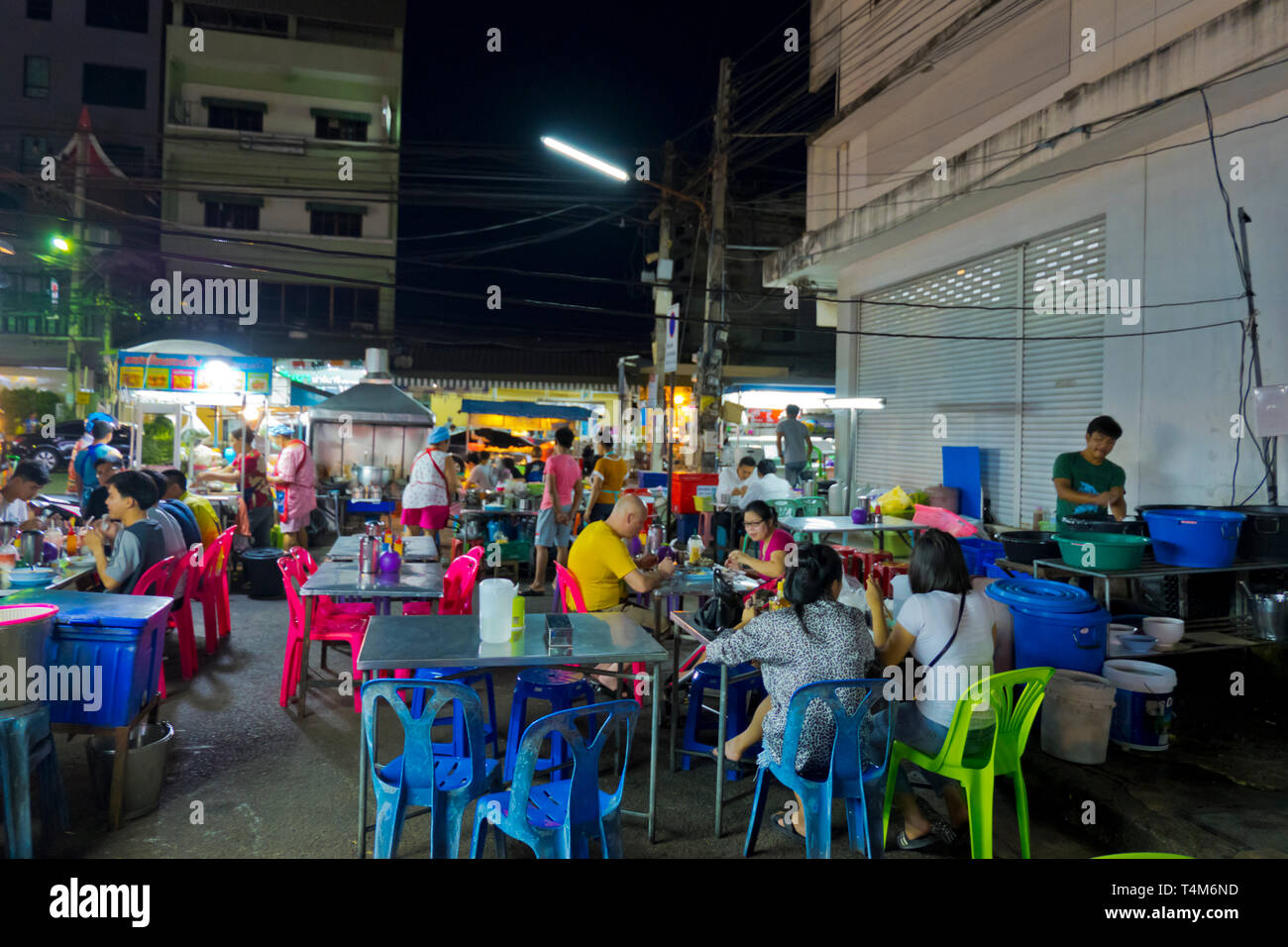 Eating area, Chatsila Night Market, Hua Hin, Thailand - Stock Image